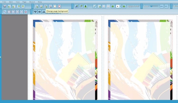 Screenshot showing how to change page background.