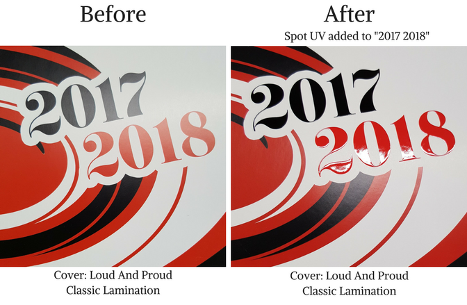 Loud and Proud before and after Spot UV